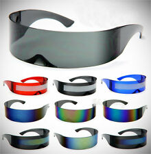 Futursitic Sunglasses Multi-Color Mirror Lens 100% UV400 Cyclops Shield