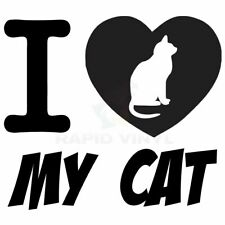 I LOVE MY CAT Car Truck Boat Decal Window Sticker Window Decal Cat Tail Heart