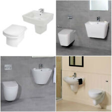 Luxury Modern White Ceramic Wall Hung 2 Piece Mounted Basin and Toilet Suite Set