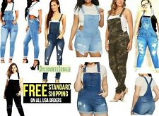 WOMENS Juniors BLUE Denim JEANS Overall Long Stretch Skinny Pants Jumper B4809