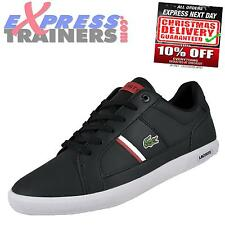 Lacoste Mens Europa Designer Leather Trainers Black New 2014 * AUTHENTIC *