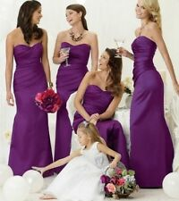 SATIN BRIDESMAID DRESS GOWN PROM EVENING FLOOR LENGTH PLUS SIZE ALL COLOURS lot