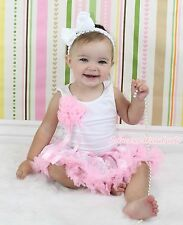 Baby White Top Bunch of Rosettes Light Pink White Damask Floral Pettiskirt 3-12M