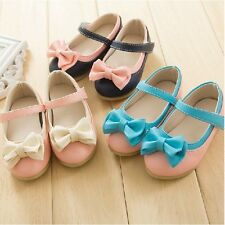 New Baby Girls Bow PU Leather Skidproof Infant Flat Sole Toddlers Summer Shoes