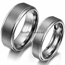 Comfort Fit Matte Finish Tungsten Carbide Ring Anniversary Wedding Band Couples