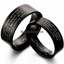 Laser Engraved Cobalt Free Flat Black Tungsten Carbide Ring Couples Wedding Band