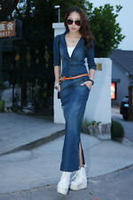 Women Slim Bonnie Modest Cotton Denim Jeans Half Sle Long Maxi Shir Dress Blue