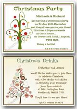 Christmas Party, Xmas Get Together, Drinks, personalised invitations invites x10