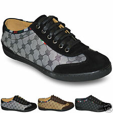 Mens 100% Leather Insole Flat Trainers Lace Up Loafers Shoes Size UK 6 7 8 9 10