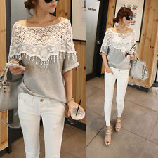 Women Lace Cutout Shirt Women Crochet Cape Collar Batwing Sleeve Blouse T-shirt
