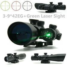 3-9x42EG Red/Green Mil-Dot Sight Scope+Tactical Green Mil Dot Laser Sight