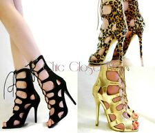 Women Ankle Top Lace Up Gladiator High Heel Stilettos Black Leopard Sandals