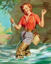 Vintage Pin-up Red Head Girl Fishing Retro 3 sizes Quilting Fabric Block