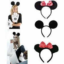 Fancy Dress Up Costume Mickey Minnie Mouse Ear Bow Headband Halloween Party Gift
