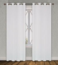 "FAUX SILK  Window Treatments Curtains Drape GROMMETS 63"" 84"" 95"" 108""  WHITE"