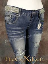 Womens A7 Brand Destroyed Skinny Leg Jeans Authentic Green Swarovski Crystals