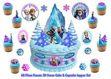 Edible Frozen 3D Castle Scene Standup Wafer 9/32/60 Pcs Cake Toppers Snowflakes
