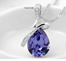 Certified silver Swarovski Crystal teardrop wedding pendant necklace purple 018