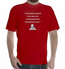 Mens white cotton T-Shirt Fruit of the Loom William Shakespeare quote: A Fool