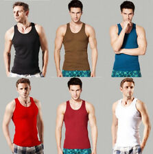 Mens Casual Ribbed Tank Top Undershirt Underwear slim fit Beater Vest Shirt