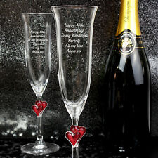 Personalised Engraved Heart Flutes Anniversary Engagement Wedding Gift Present