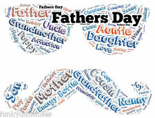 PERSONALISED FATHERS DAY WORD ART, ANY COLOUR, COMPLETELY UNIQUE, FACE