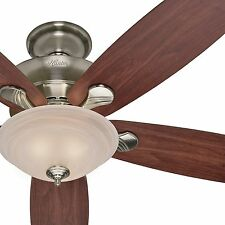 """Hunter 60"""" Brushed Nickel Ceiling Fan - Maple  Cherry - Optional Remote Control"""