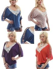 FABULOUS SEXY LACE APPLIQUE OPEN SLEEVE TUNIC TOP SIZE 12 14 16 18 BNWT
