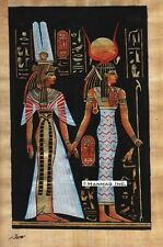 "Egyptian Papyrus Painting -  Isis and Nefertary 8X12"" + Hand Painted #53"