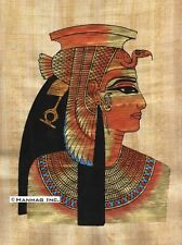 "Egyptian Papyrus Painting - Cleopatra 8X12"" + Hand Painted + Description #98A"