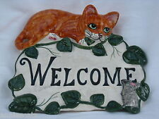 Welcome Cat & Mouse Ceramic Plaque Babbacombe Pottery Ginger or Tabby Cat