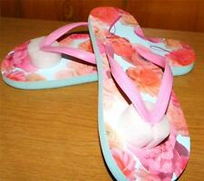 Avon Breast Cancer Awareness Floral Print  Flip Flop Flops Sandal Size 5-6 New