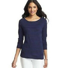 NWT Ann Taylor LOFT Tiered Lace Trim Tee Royal Navy XS S 321498