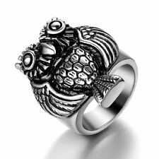 Vintage Silver Tone Stainless Steel Statement Night Owl Men's Ring Size 8 - 13