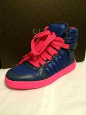 GUCCI Mens Hudson Hysteria Padded Nylon Hi Top Lace Up Sneakers Shoes Blue Pink