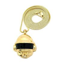 "New DAFT PUNK HELMET 2-FACE Pendant &2mm/30"" Box Chain Hip Hop Necklace XMP2"