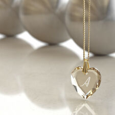 Gold Plated Necklace with SWAROVSKI ELEMENTS Heart and free Letters selection