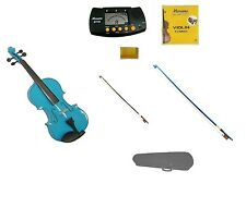 New Blue Violin,Blue Bow+Natural Bow,Case,2 Sets Strings,Rosin,Metro Tuner