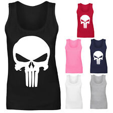 Womens The Punisher Skull Marvel Super Hero Vest Tank Top NEW UK 8-18