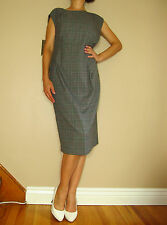 Marina Rinaldi Max Mara Italy Gray Plaid Wool Blend Sheath Dress MR17/10-12 NWT