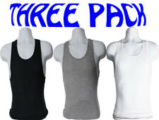 MEN'S TANK TOP 3 PACK UNDER A-SHIRTS VEST 100% COTTON WIFE BEATERS RIBBED