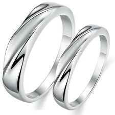 Engagement Wedding Band Ring Polished Finish White Gold Plated on Alloy USSeller