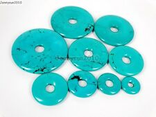 Stabilized Turquoise Gemstone Round Donut Ring Pendant Beads For Jewelry Making