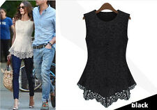 Ladies Women Lace Peplum Bodycon Blouse Sleeveless Shirt Doll Chiffon Dress Tops