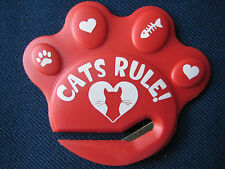 """PAW SHAPED LETTER OPENER """"CATS RULE""""  (3 COLORS AVAILABLE) FOR CAT PEOPLE"""