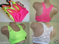 3 Bra 6 SPORTS BRAS Yoga Zumba LACE RACERBACK Multi-Colors ONE LAYER 6336 S-XL