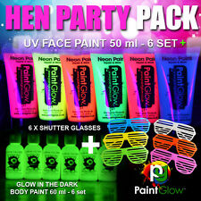 HEN PARTY PACK! 6 x UV Face Paints / 6 x Glow in the Dark Paints / 6 x Shutters