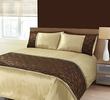 Zara Latte Cream Embroidery Sequins Duvet Cover Bedding Set Single Double King