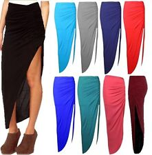WOMENS LADIES RUCHED SIDE SPLIT SLIT MAXI SKIRT DRESS SIZE 8-14