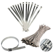 KIT DRAG DRIFT CAR EXHAUST WRAP STAINLESS STEEL METAL ZIP CABLE TIES CHOOSE SIZE